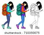 set of vector illustrations of... | Shutterstock .eps vector #710350075