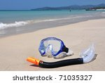 Snorkeling set on Bangtao beach of Phuket island - stock photo