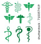 green caduceus | Shutterstock .eps vector #710357419
