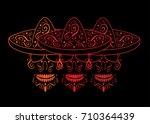 mexican skulls with sombrero ... | Shutterstock .eps vector #710364439