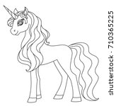 coloring page. unicorn... | Shutterstock .eps vector #710365225