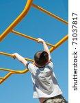 young boy climbing on monkey... | Shutterstock . vector #71037817
