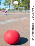 ball on playground with giirl...   Shutterstock . vector #71037952