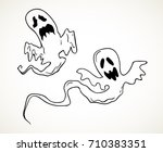 flying ghosts. hand drawn... | Shutterstock .eps vector #710383351