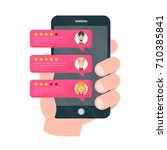 rate our app flat concept. hand ... | Shutterstock . vector #710385841