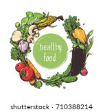 vector vegetables card. colour... | Shutterstock .eps vector #710388214