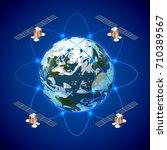 network and satellite data... | Shutterstock .eps vector #710389567