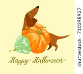 postcard happy halloween with a ... | Shutterstock .eps vector #710398927