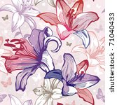 seamless pattern with lily and... | Shutterstock .eps vector #71040433