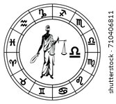 libra in astrological circle... | Shutterstock .eps vector #710406811