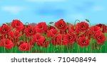 horizontal seamless poppy field ... | Shutterstock .eps vector #710408494