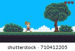 pixel art game background with... | Shutterstock .eps vector #710412205