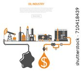 oil industry concept with two... | Shutterstock . vector #710418439