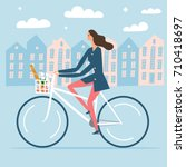 city style woman riding on a... | Shutterstock .eps vector #710418697