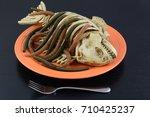 Halloween Dinner Dish Worms...