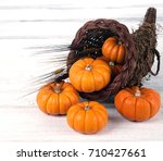 fall thanksgiving cornucopia...   Shutterstock . vector #710427661