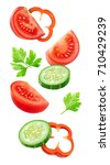 isolated slices of vegetables.... | Shutterstock . vector #710429239