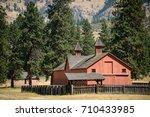 red barn at fort spokane in... | Shutterstock . vector #710433985