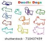 set color doodle dogs. funny... | Shutterstock .eps vector #710437459