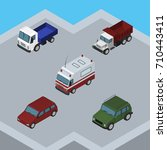 isometric transport set of car  ...