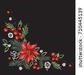 embroidery corner christmas... | Shutterstock .eps vector #710445139