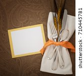 fall thanksgiving place setting ... | Shutterstock . vector #710445781
