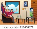 a vector illustration of soccer ... | Shutterstock .eps vector #710450671