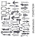 hand drawn doodle arrows... | Shutterstock .eps vector #710457634