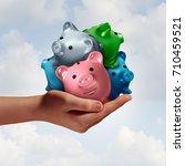 debt consolidation as a hand... | Shutterstock . vector #710459521