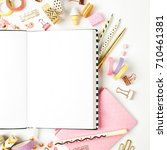 planner mockup and stationary....   Shutterstock . vector #710461381