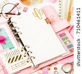 planner mockup and stationary   Shutterstock . vector #710461411