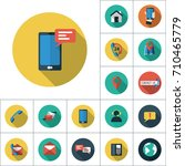 mobile messaging icon  flat set ... | Shutterstock .eps vector #710465779