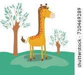 giraffe animal caricature in... | Shutterstock .eps vector #710469289
