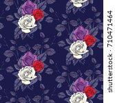 rose seamless pattern  vector... | Shutterstock .eps vector #710471464