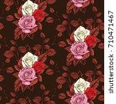 rose seamless pattern  vector... | Shutterstock .eps vector #710471467