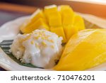 the close up of sticky rice and ... | Shutterstock . vector #710476201