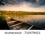 aluminum canoe on a mountain...   Shutterstock . vector #710478421
