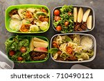 lunch boxes with food ready to... | Shutterstock . vector #710490121