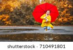 happy child girl with an... | Shutterstock . vector #710491801