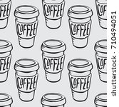 hand drawn paper coffee cup... | Shutterstock .eps vector #710494051