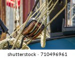 Wooden Pulley On Tall Ship