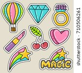 cute girly sticker patch design ... | Shutterstock .eps vector #710506261