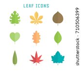leaf icons in flat style for... | Shutterstock .eps vector #710506399