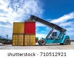 forklift truck lifting cargo...   Shutterstock . vector #710512921