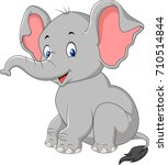 Stock vector cartoon cute baby elephant sitting 710514844