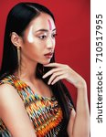 Small photo of beauty young asian girl with make up like Pocahontas