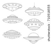 set of flying saucers. lineart. ... | Shutterstock .eps vector #710518555