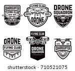 set of drone flying club... | Shutterstock .eps vector #710521075