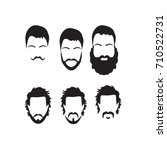 hipster vector set  hair and... | Shutterstock .eps vector #710522731