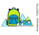 flat vector line logo of tourism | Shutterstock .eps vector #710527741